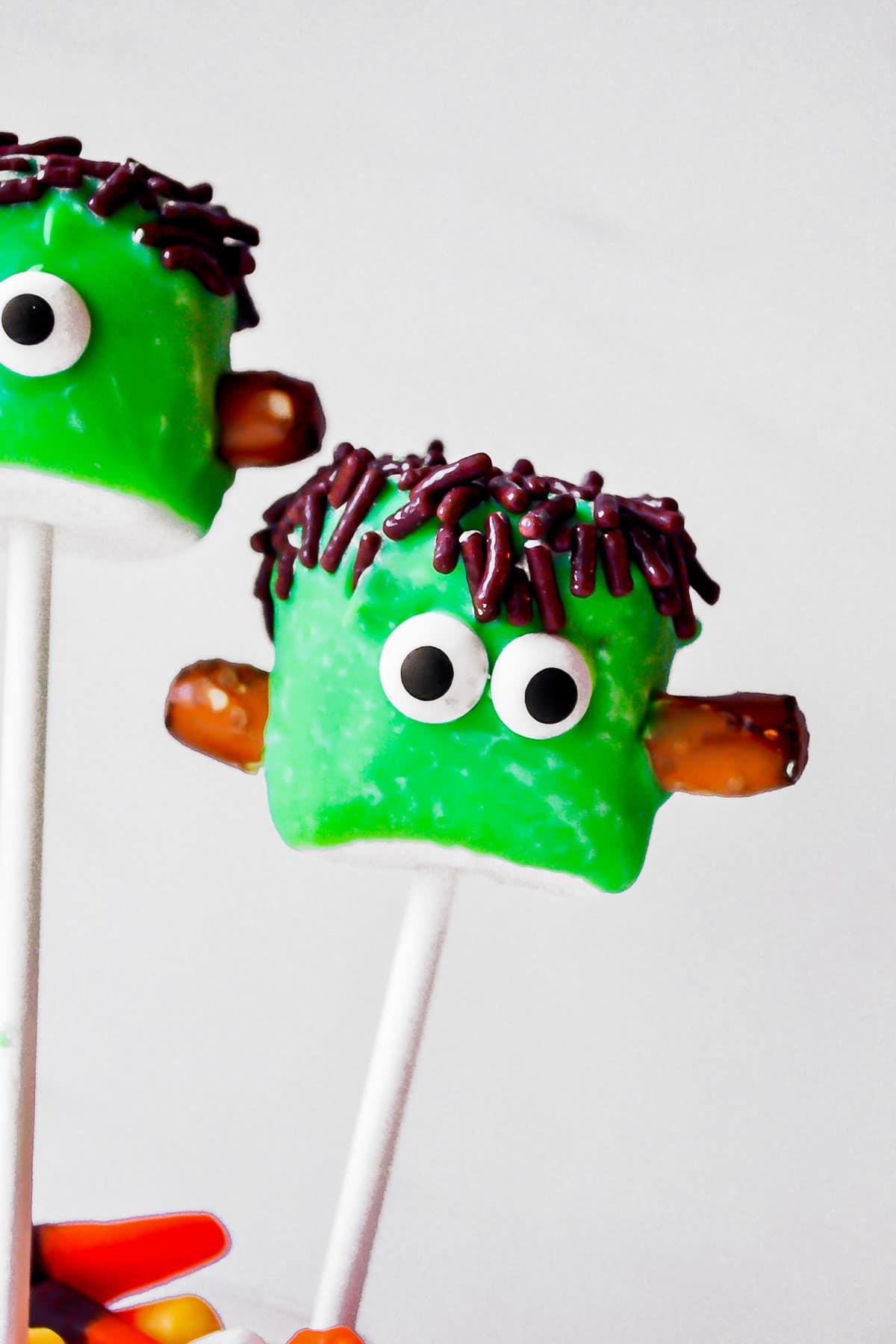 monster halloween marshmallows pops close up