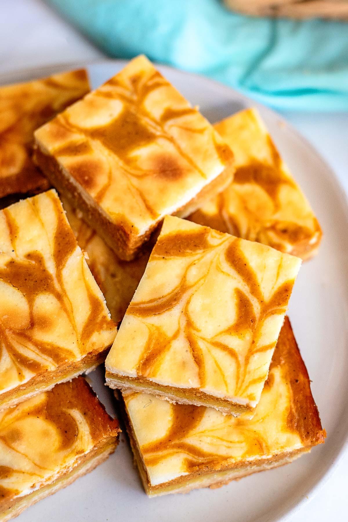 pumpkin cheesecake bars plate