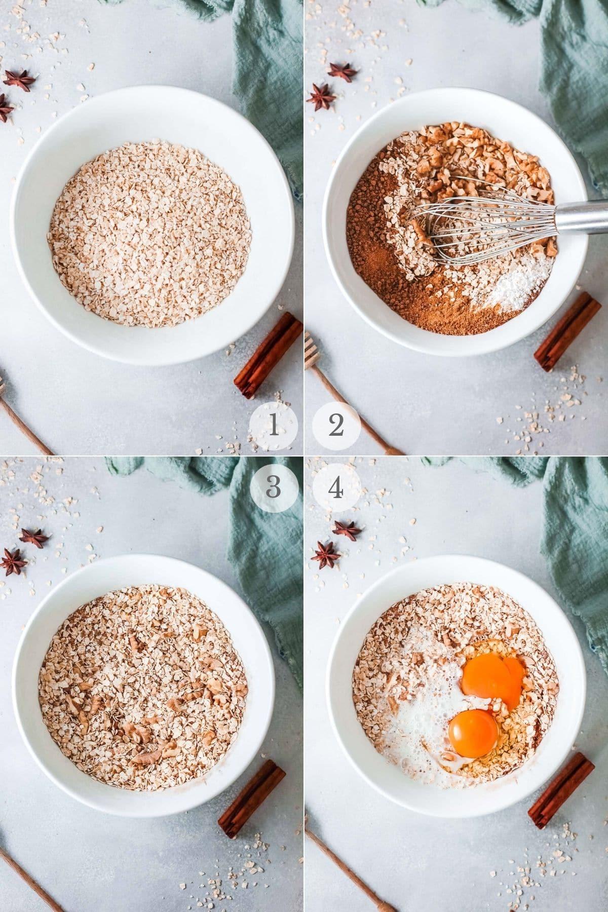 apple baked oatmeal recipe steps 1-4