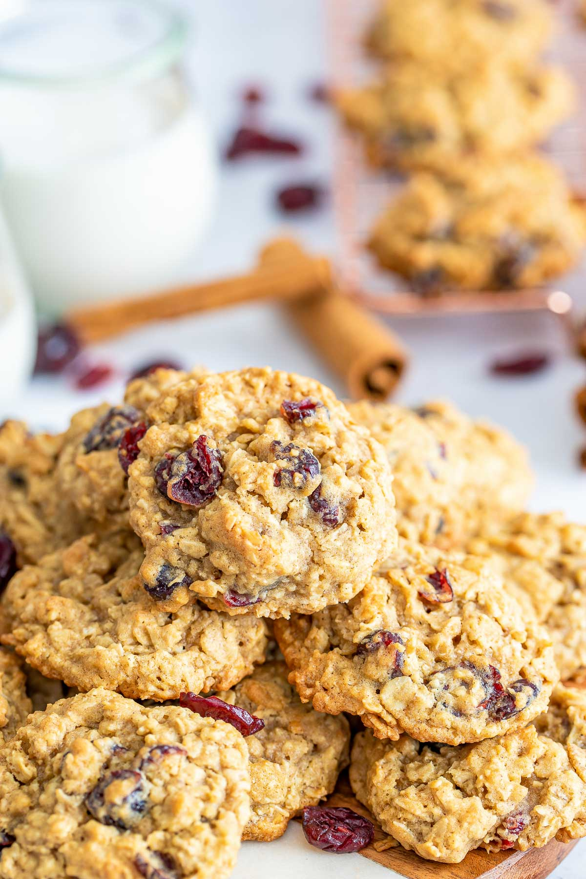cranberry oatmeal cookie pile close
