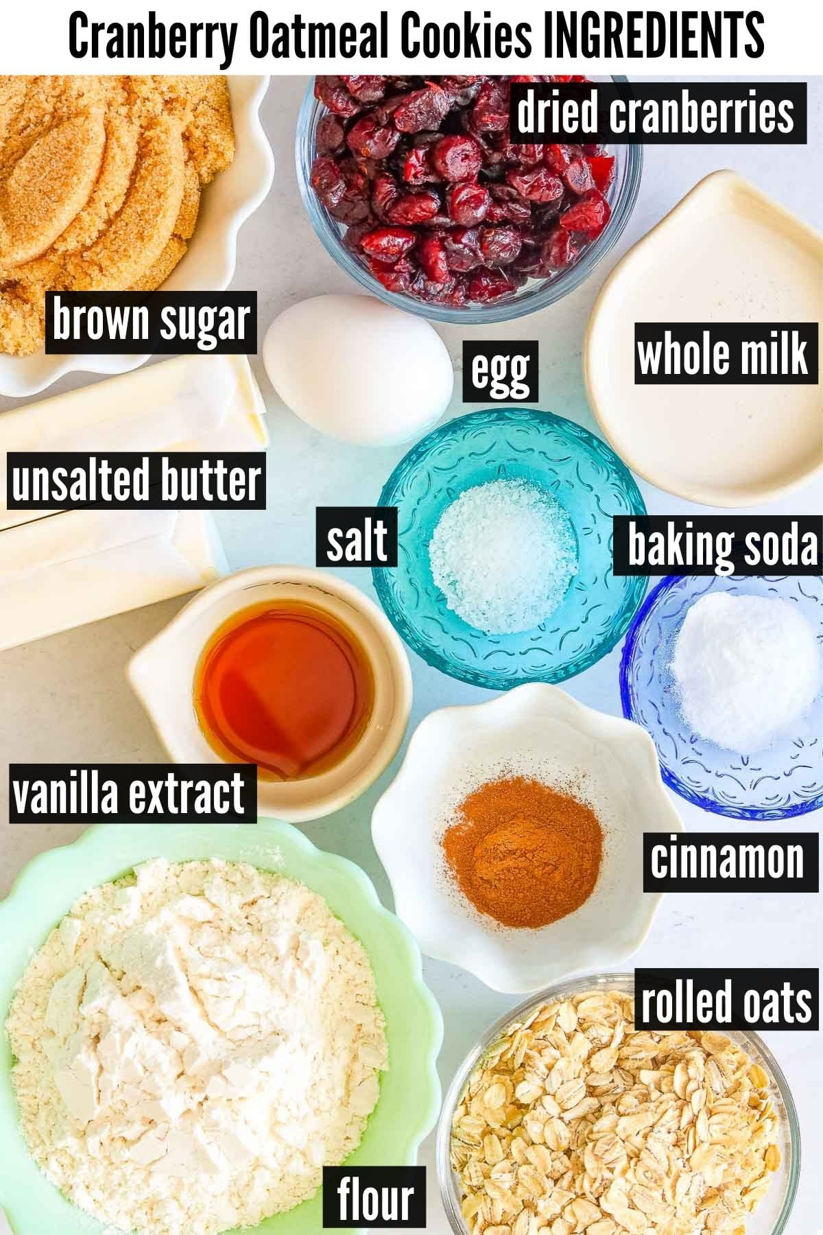cranberry oatmeal cookies ingredients