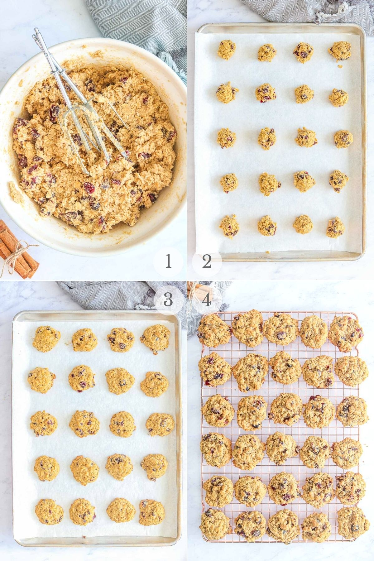 cranberry oatmeal cookies recipe steps 1-4
