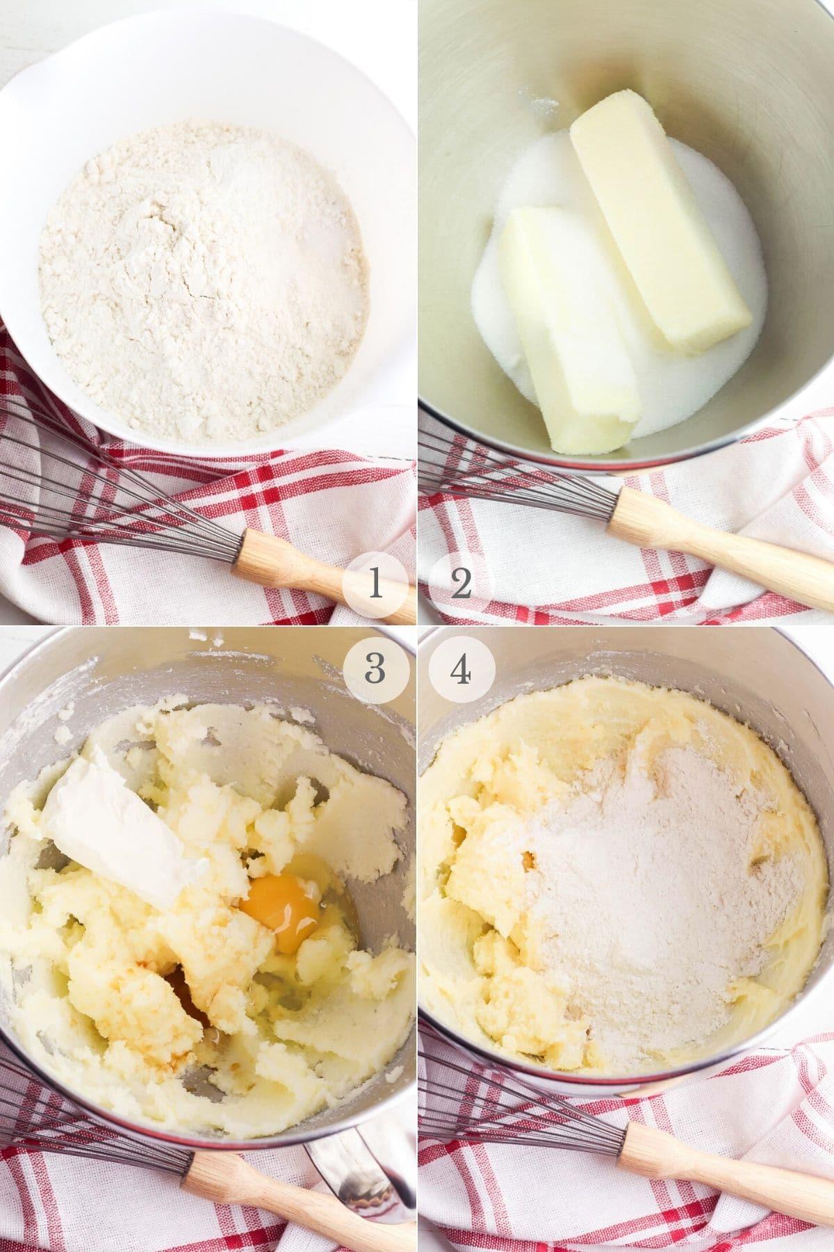 cream cheese sugar cookies recipe steps 1-4