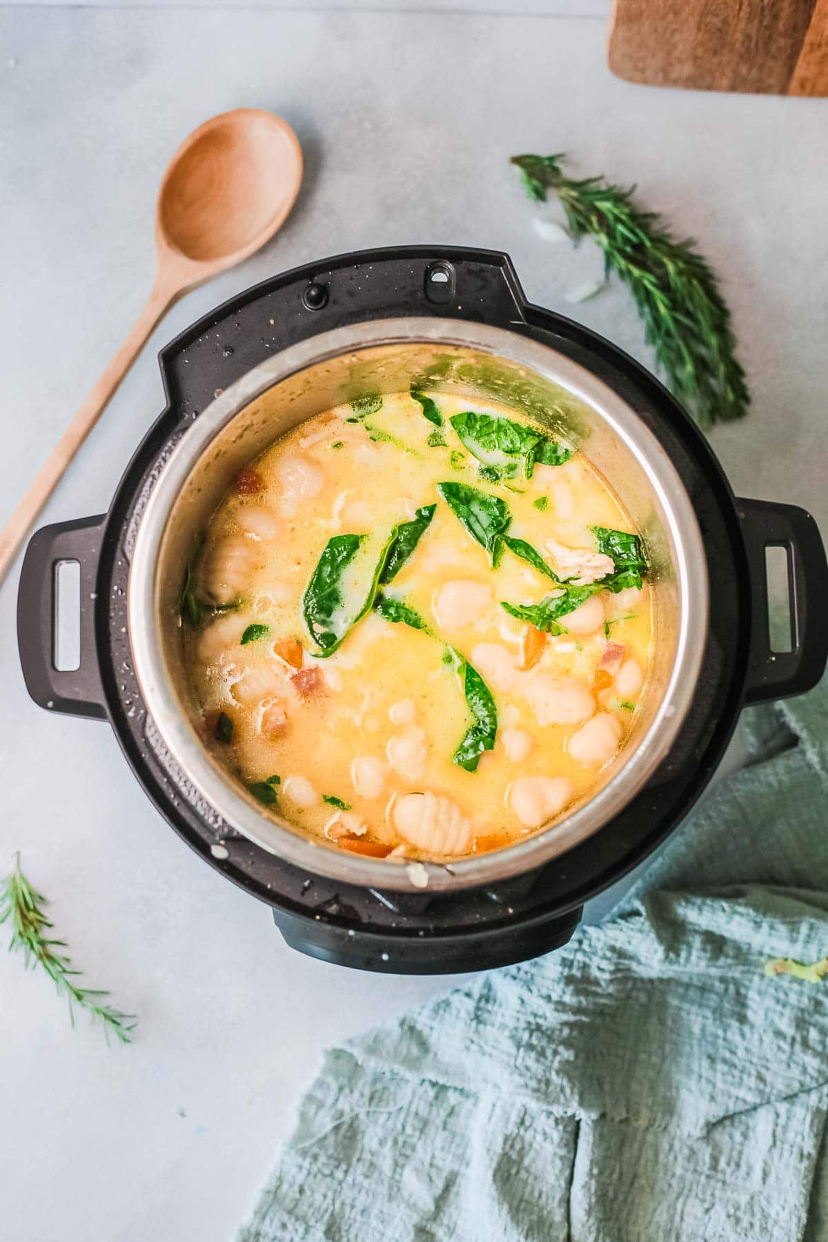 instant pot chicken gnocchi soup in the pot