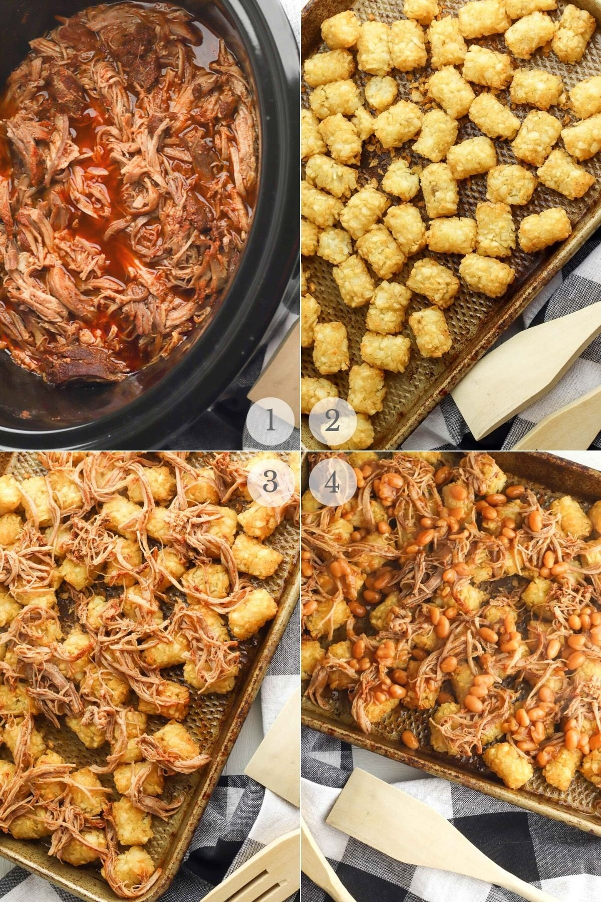 Pulled Pork totchos recipe steps 1-4