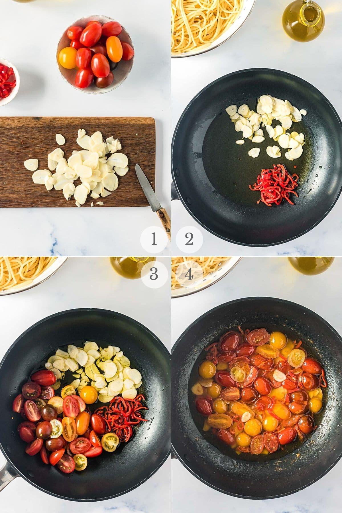 Spaghetti Aglio e Olio recipe steps 1-4