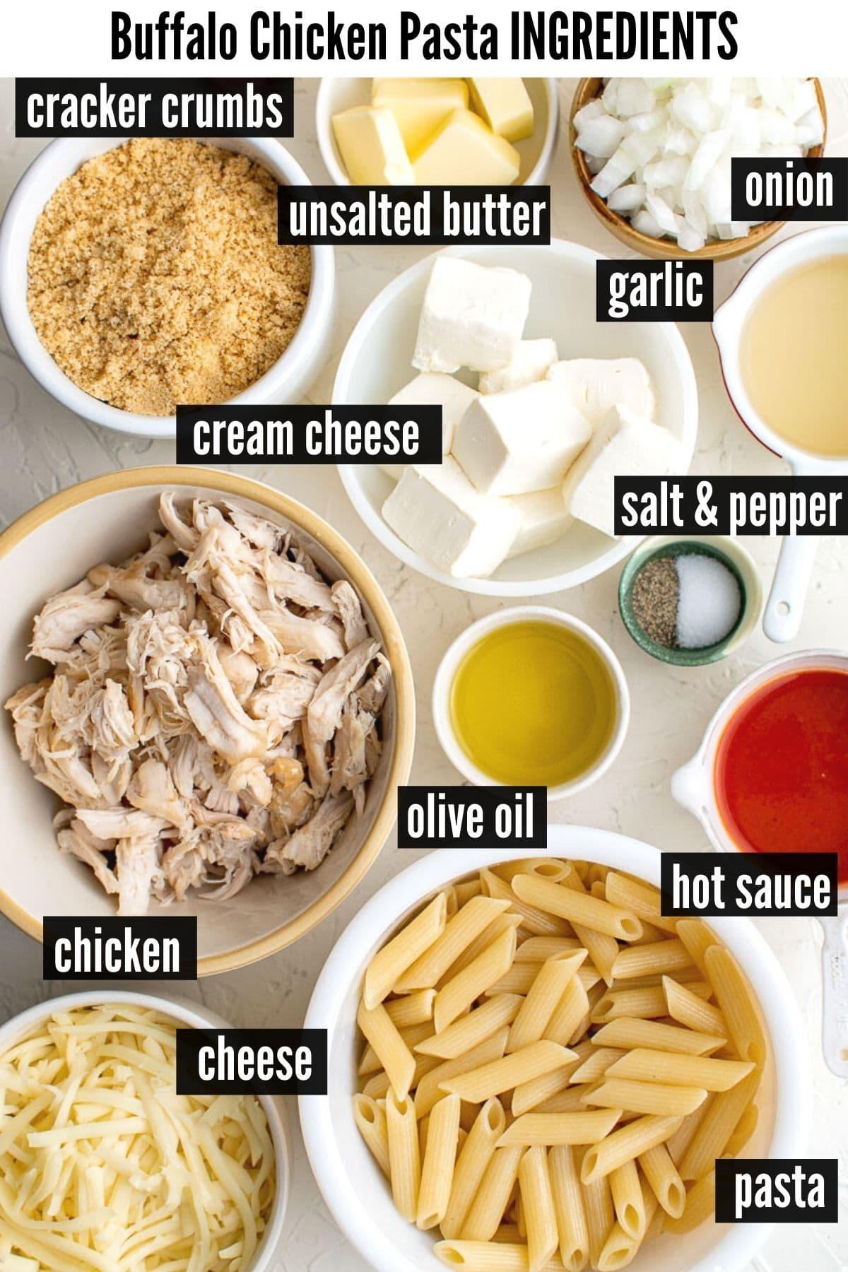 buffalo chicken pasta ingredients