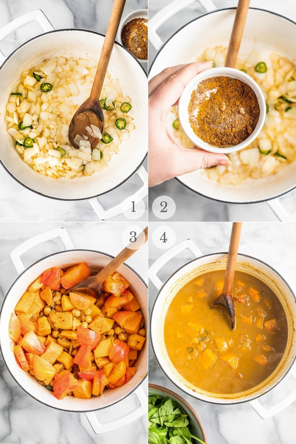 chickpea curry recipe steps 1-4