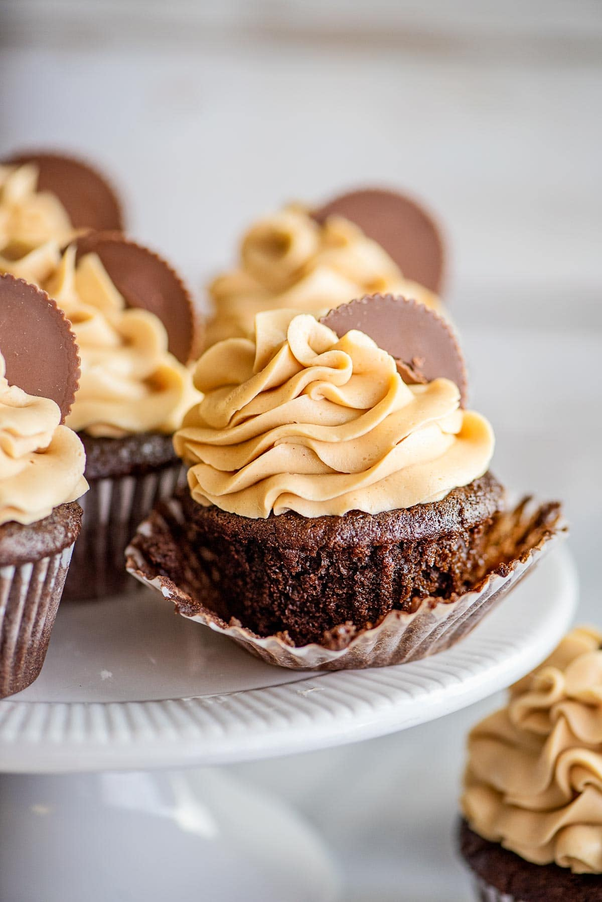 chocolate peanut butter cupcake liner down