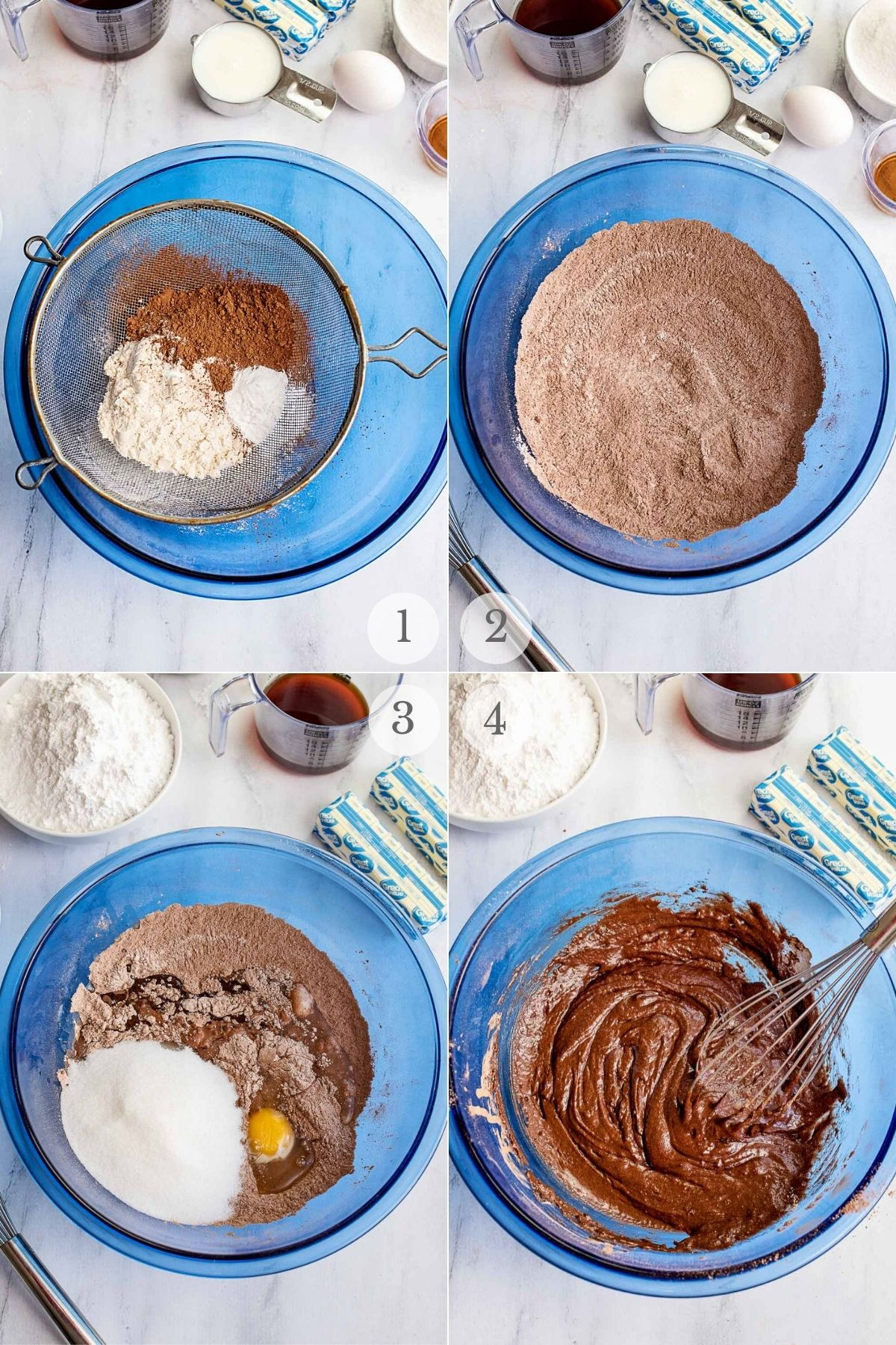 chocolate peanut butter cupcakes recipe steps 1-4