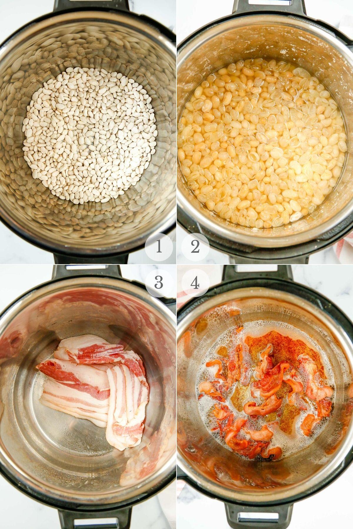 instant pot baked beans recipe steps 1-4