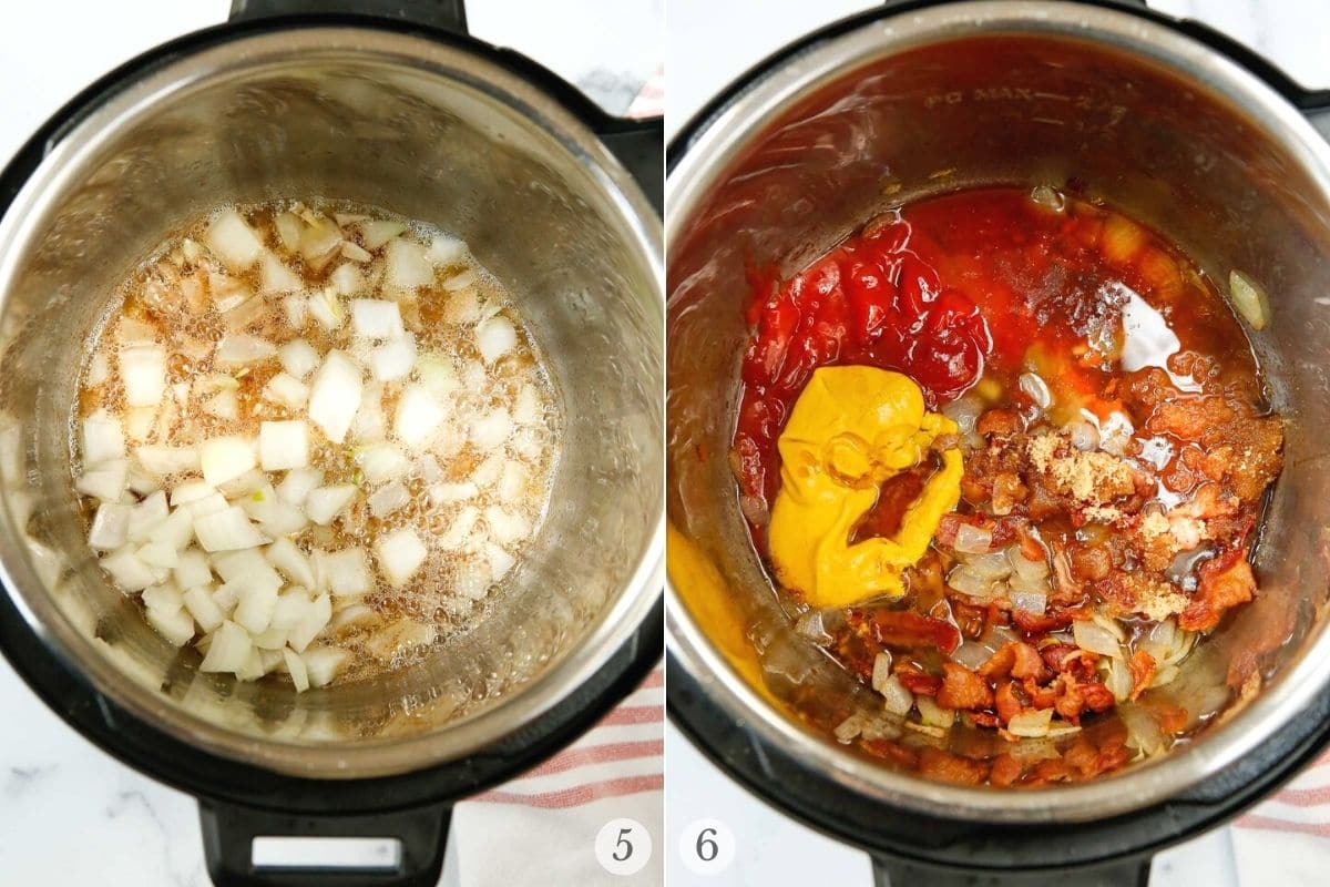 instant pot baked beans recipe steps 5-6