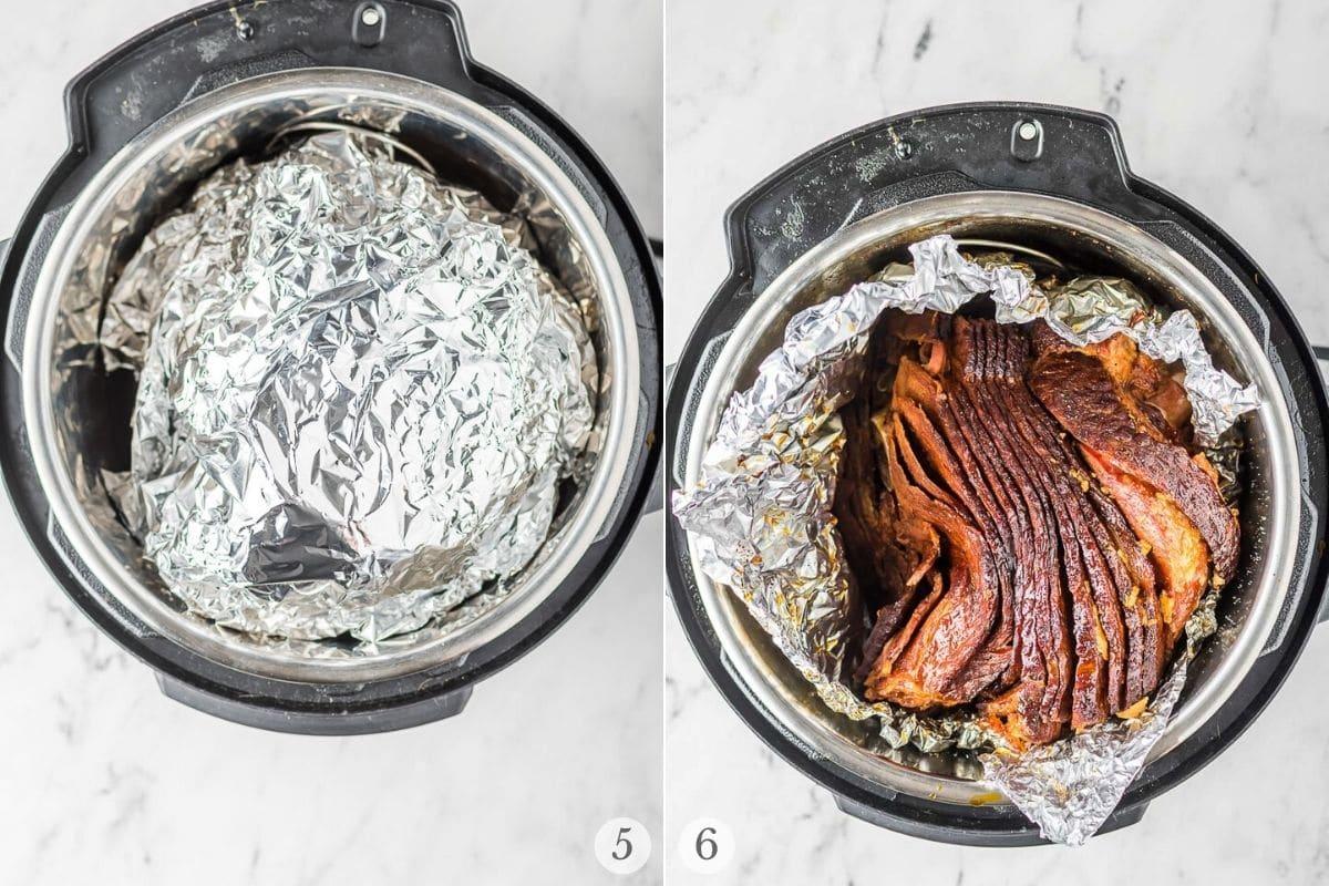 instant pot glazed ham recipe steps 5-6