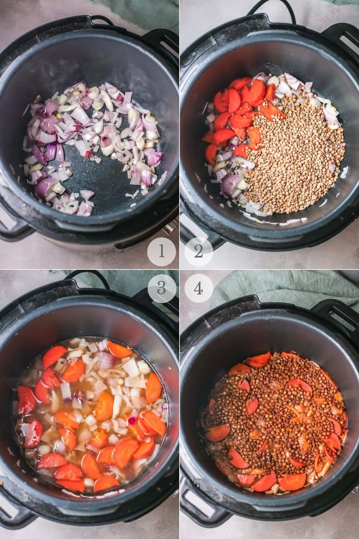 instant pot lentils recipe steps 1-4
