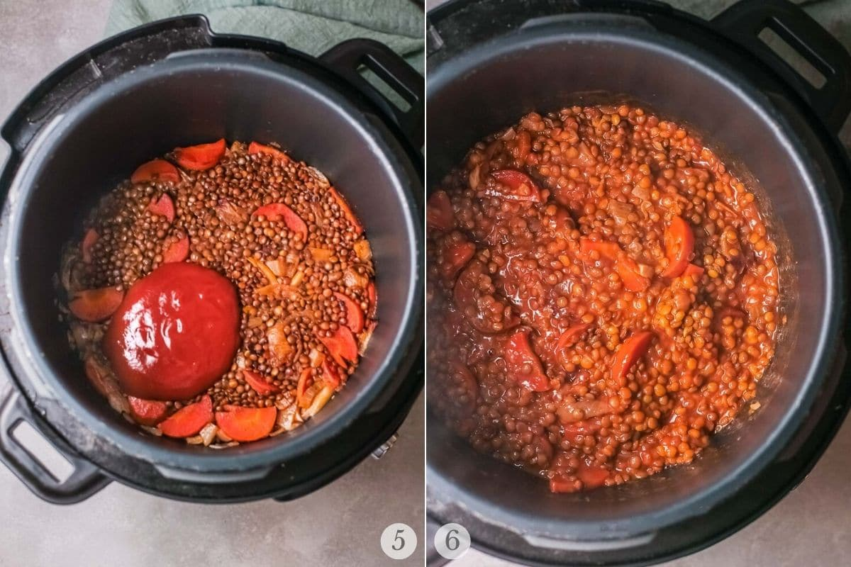 instant pot lentils recipe steps 5-6