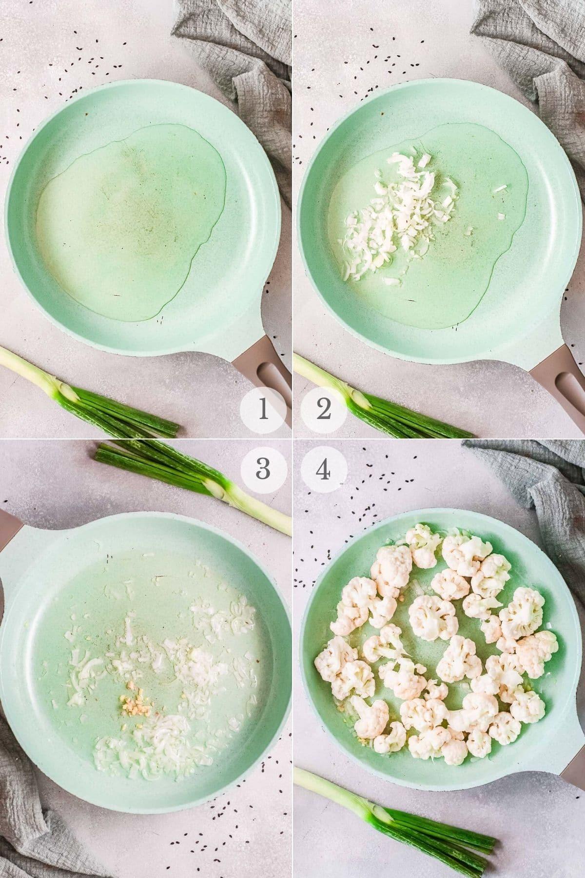 korean bbq cauliflower recipe steps 1-4