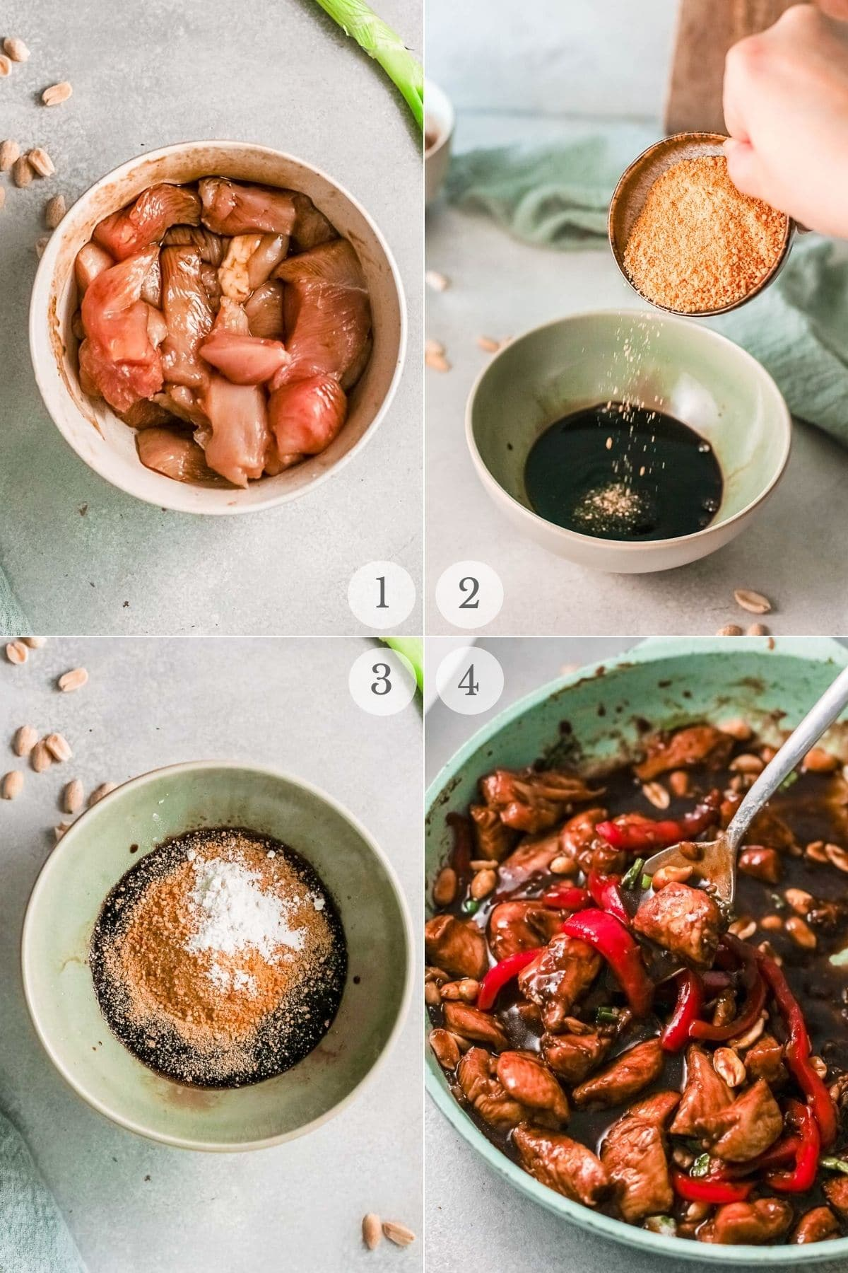 kung pao chicken recipe steps 1-4