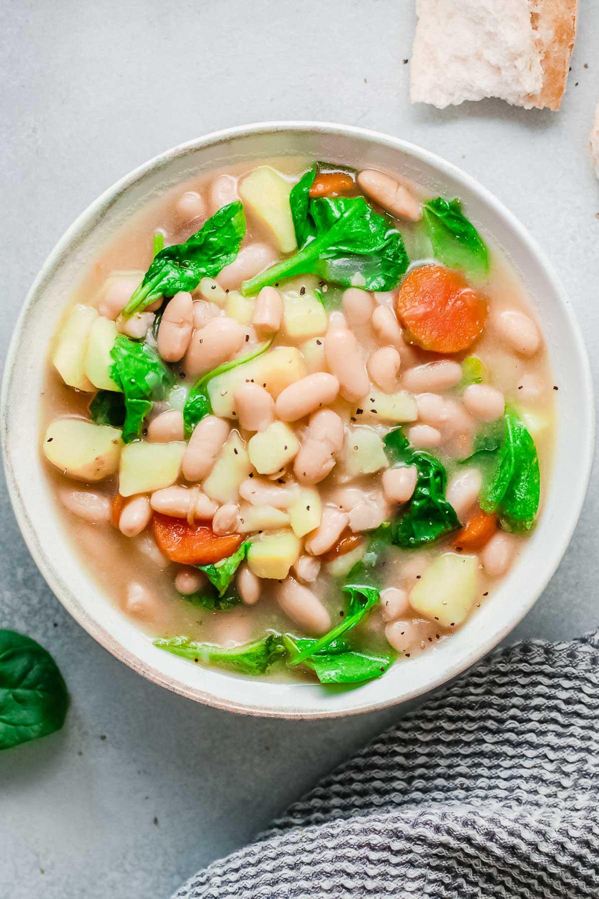 white bean soup in bowl