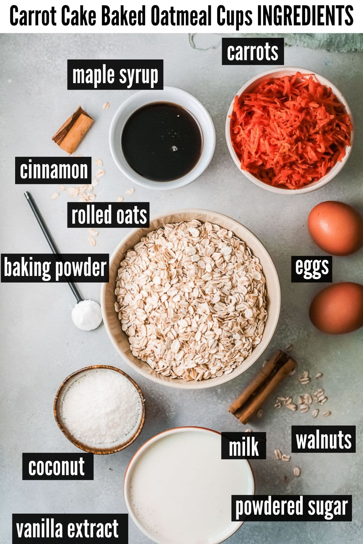 carrot cake oatmeal cups ingredients