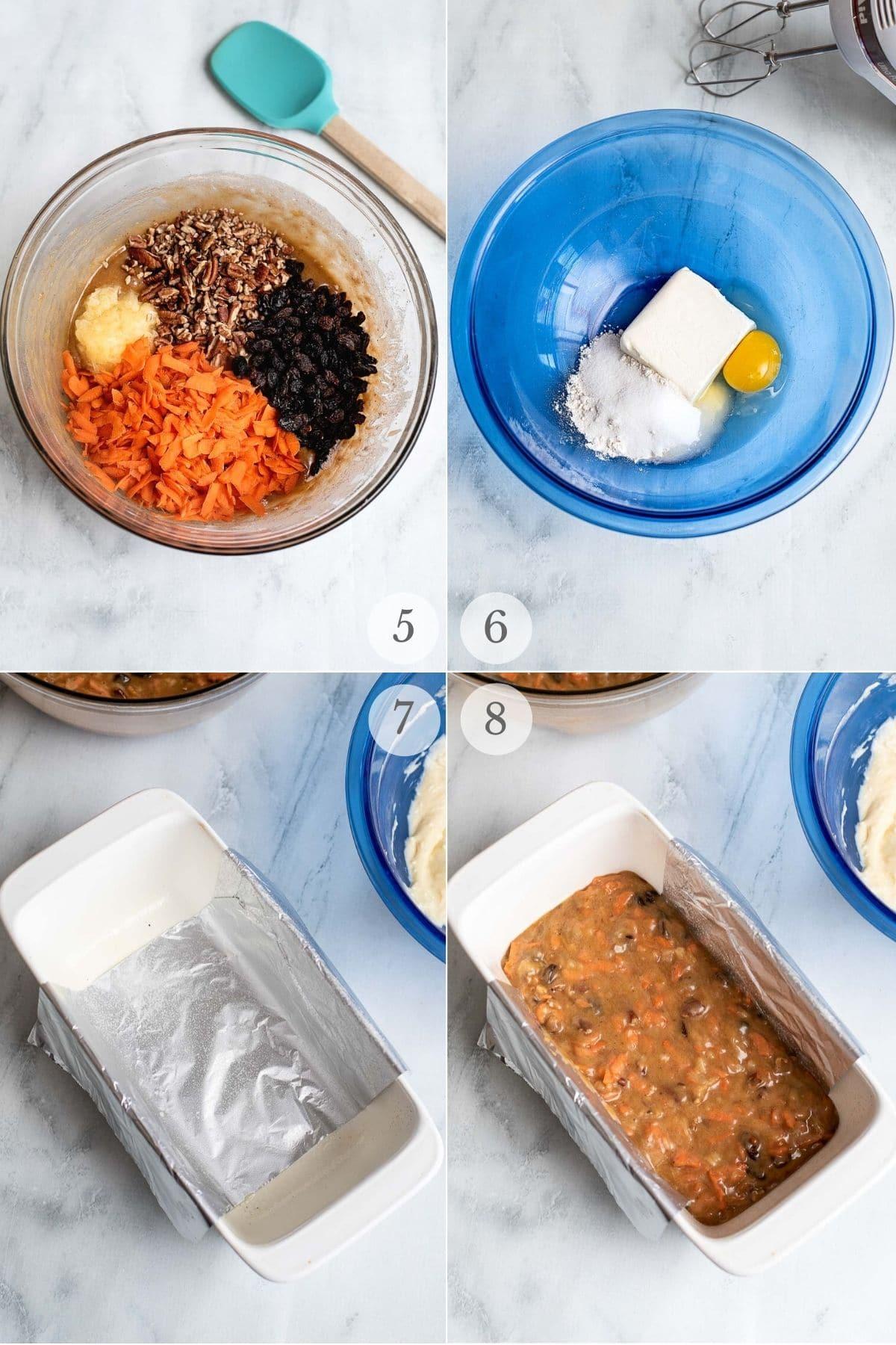 carrot loaf cake recipe steps 5-8