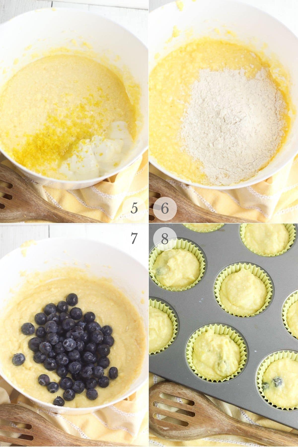 lemon blueberry muffins recipe steps 5-8