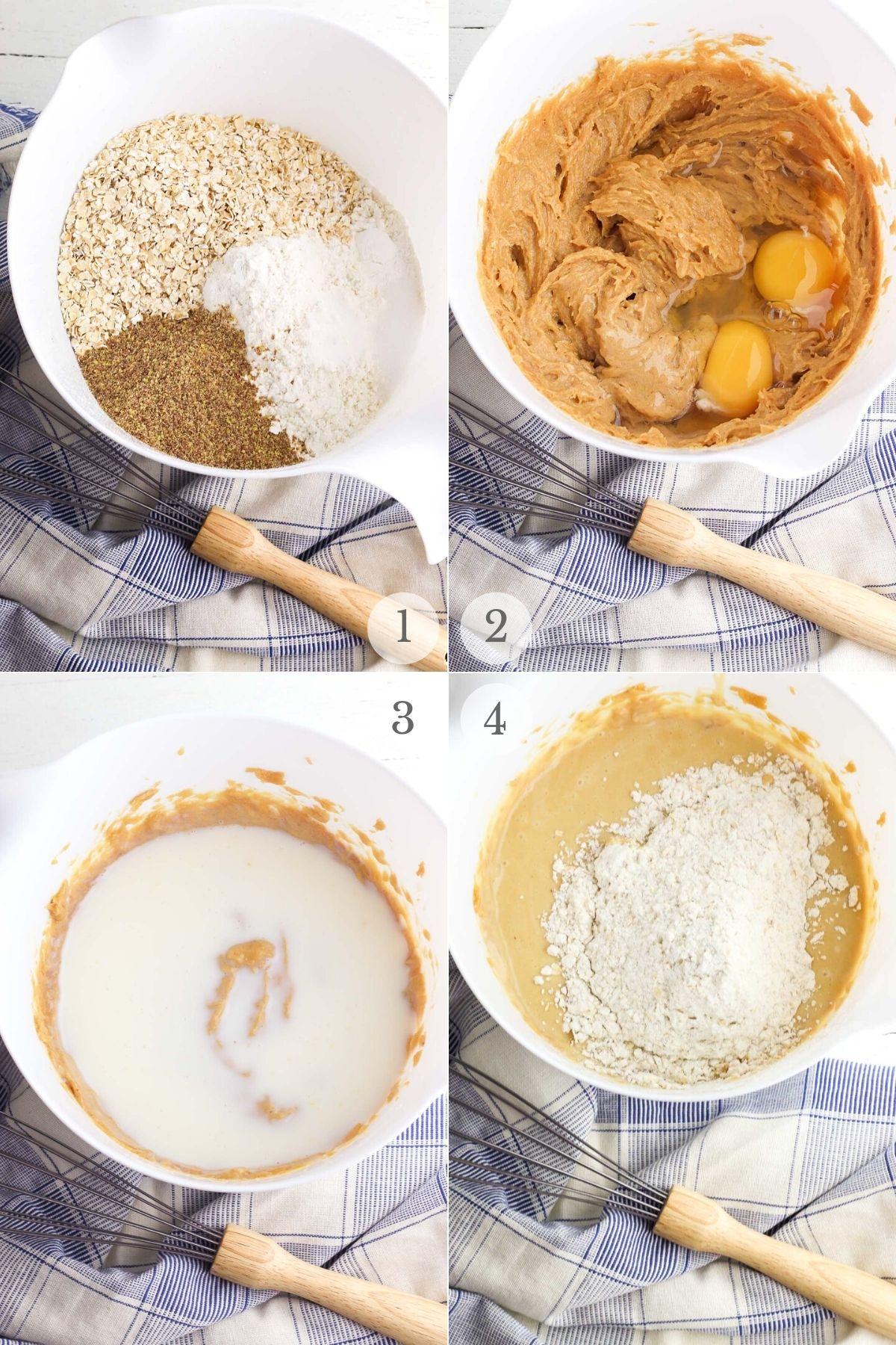 peanut butter banana muffins recipe steps 1-4