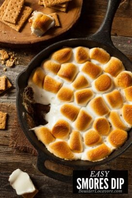 SMORES DIP title image with regular marshmallows