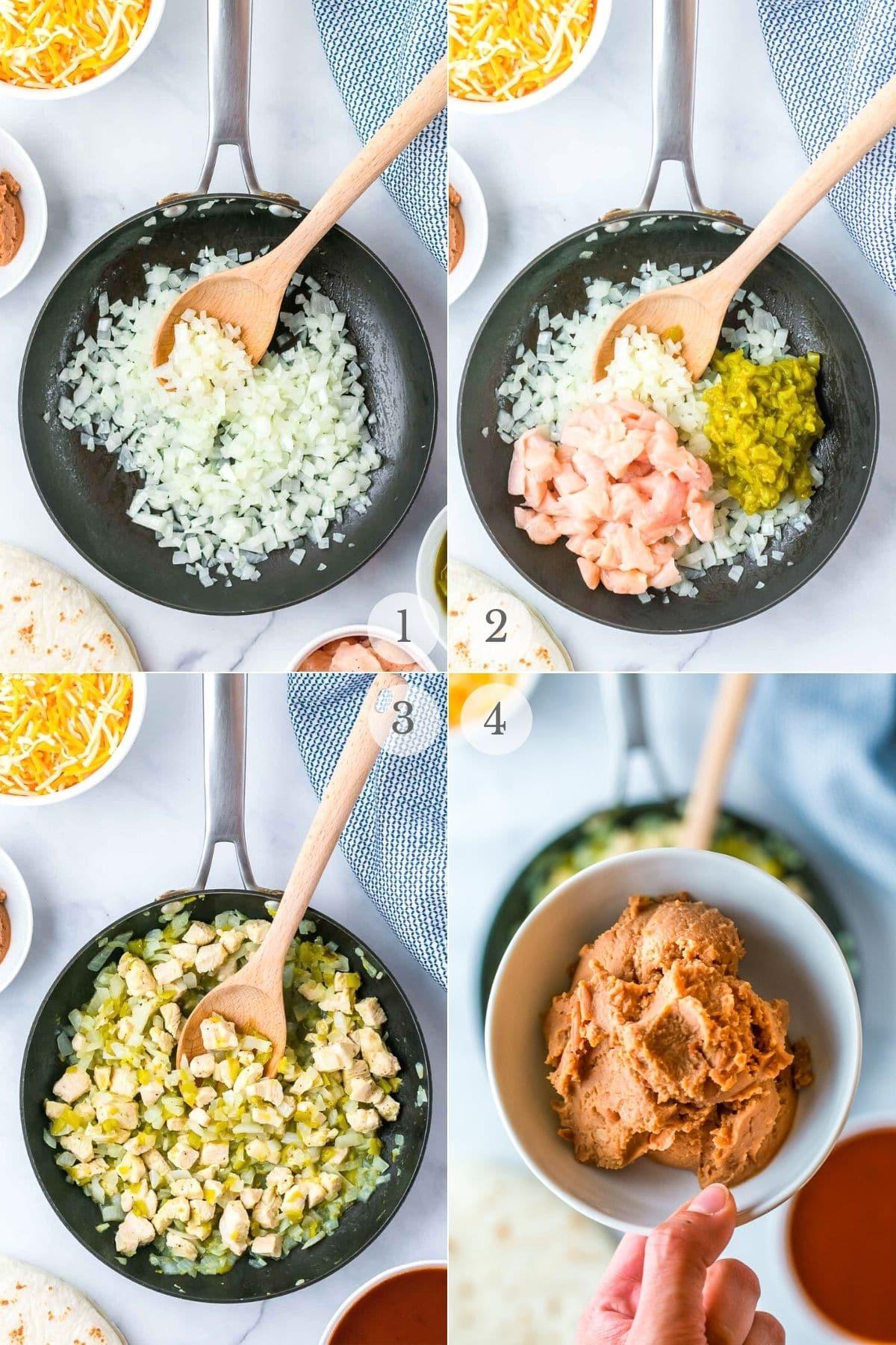 chicken enchiladas recipe steps 1-4