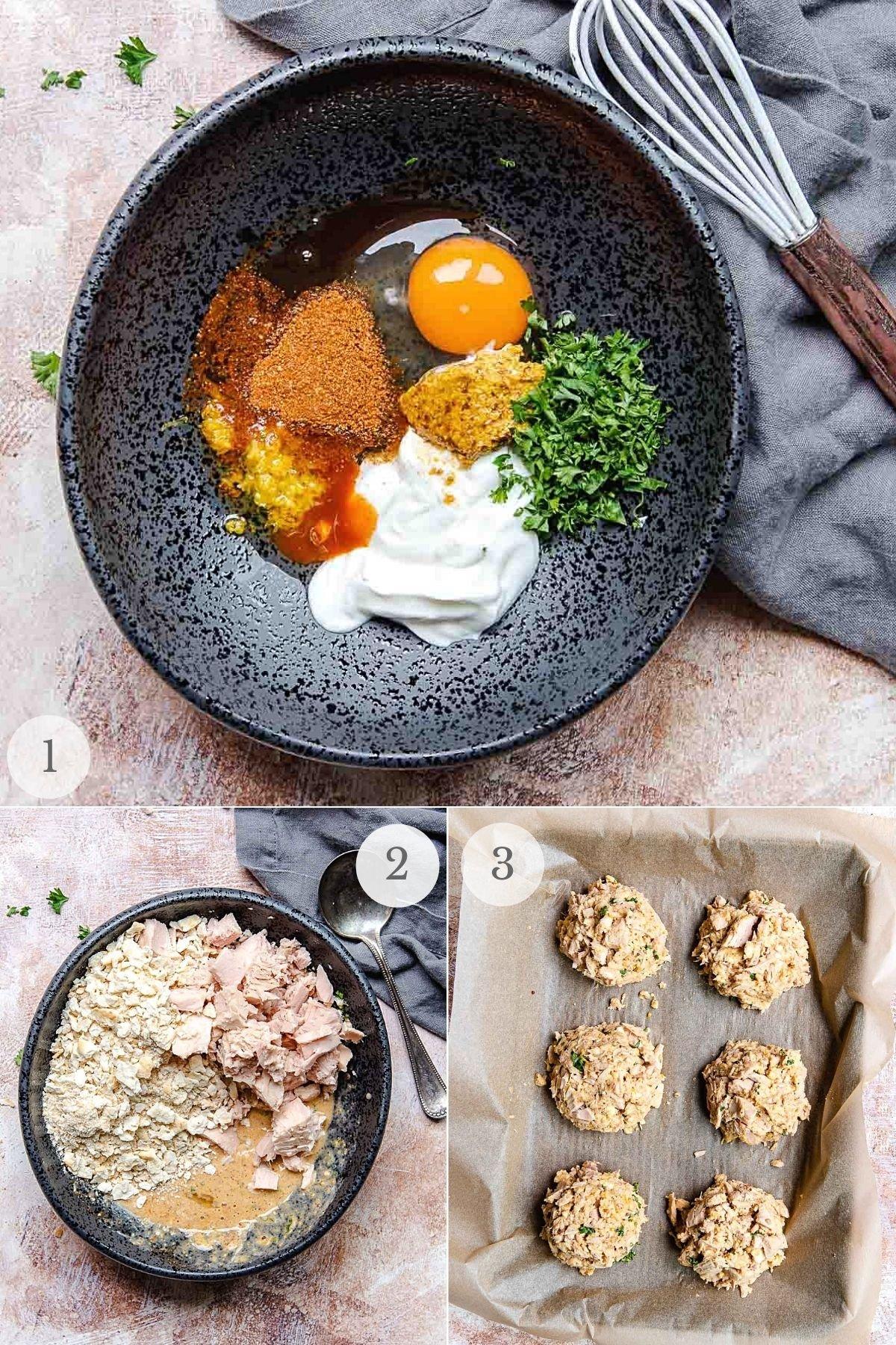 tuna cakes recipe steps 1-3
