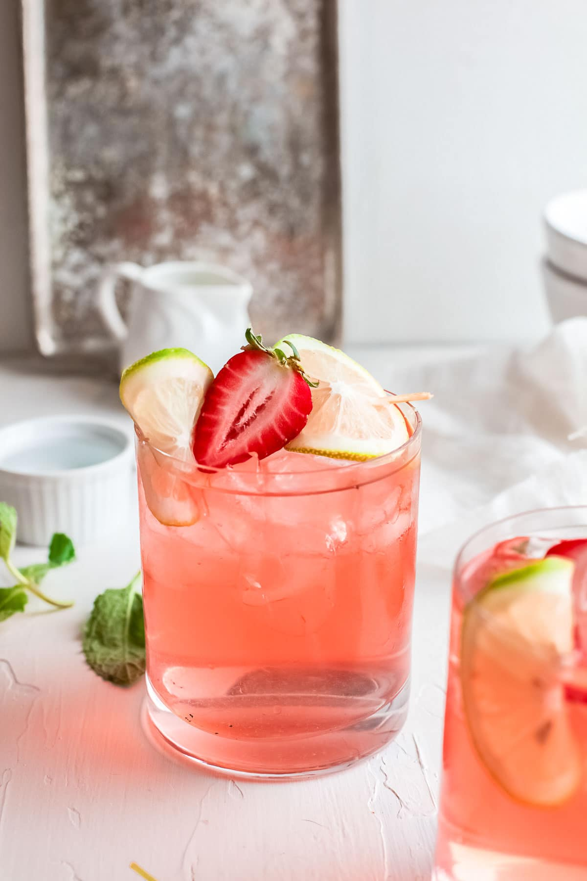 gin rickey with strawberry side