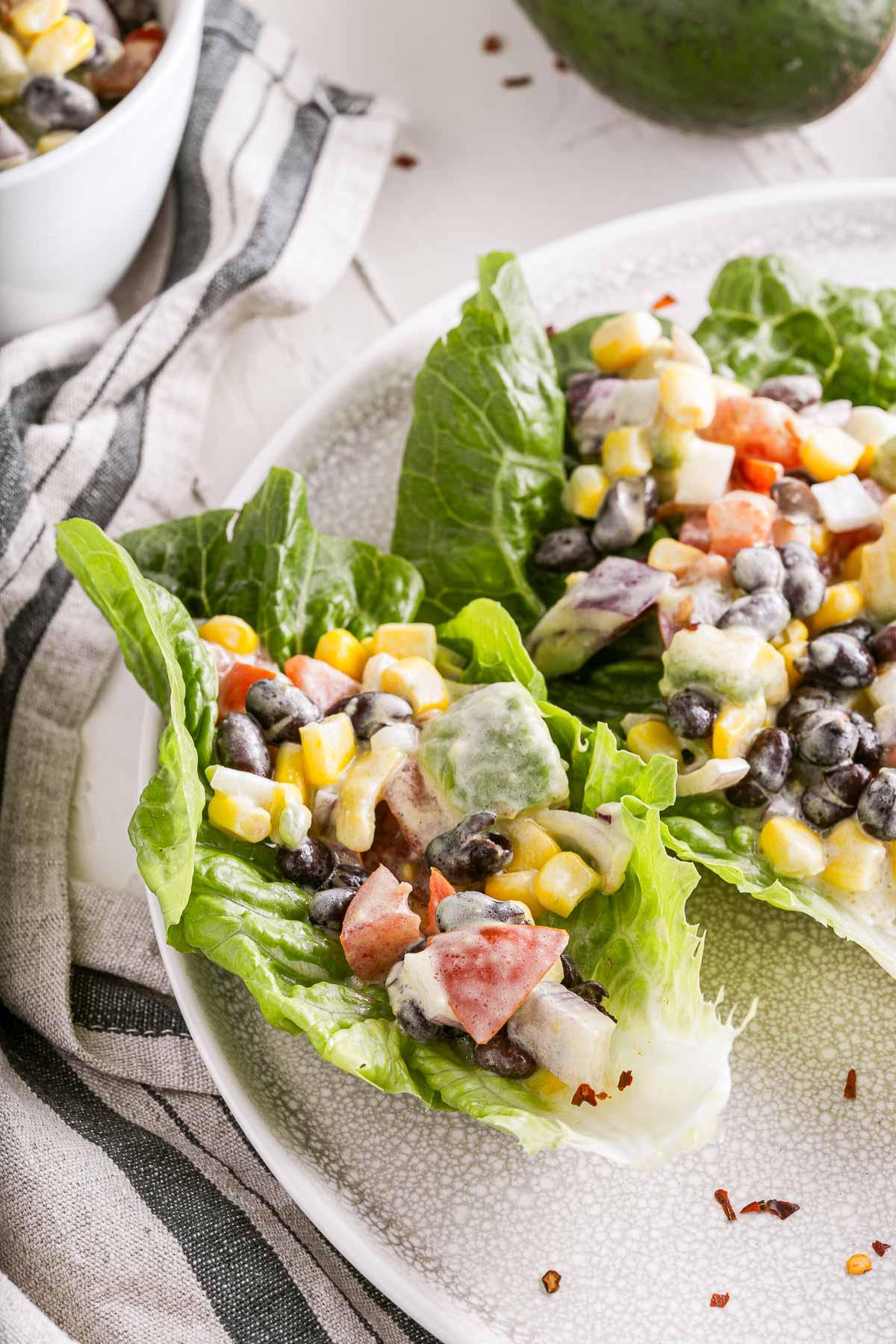 Mexican lettuce wraps close up