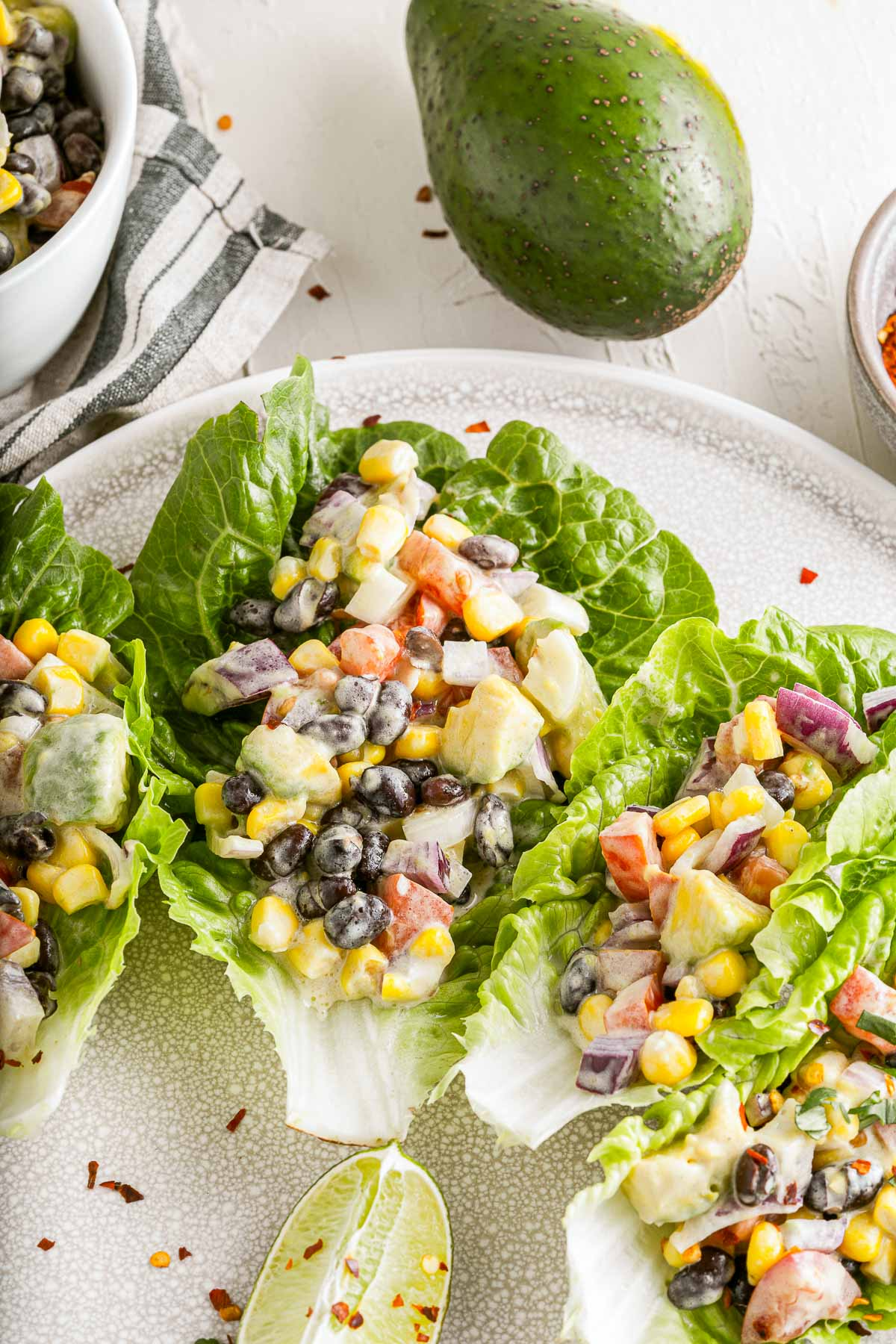 Mexican lettuce wraps close up overhead