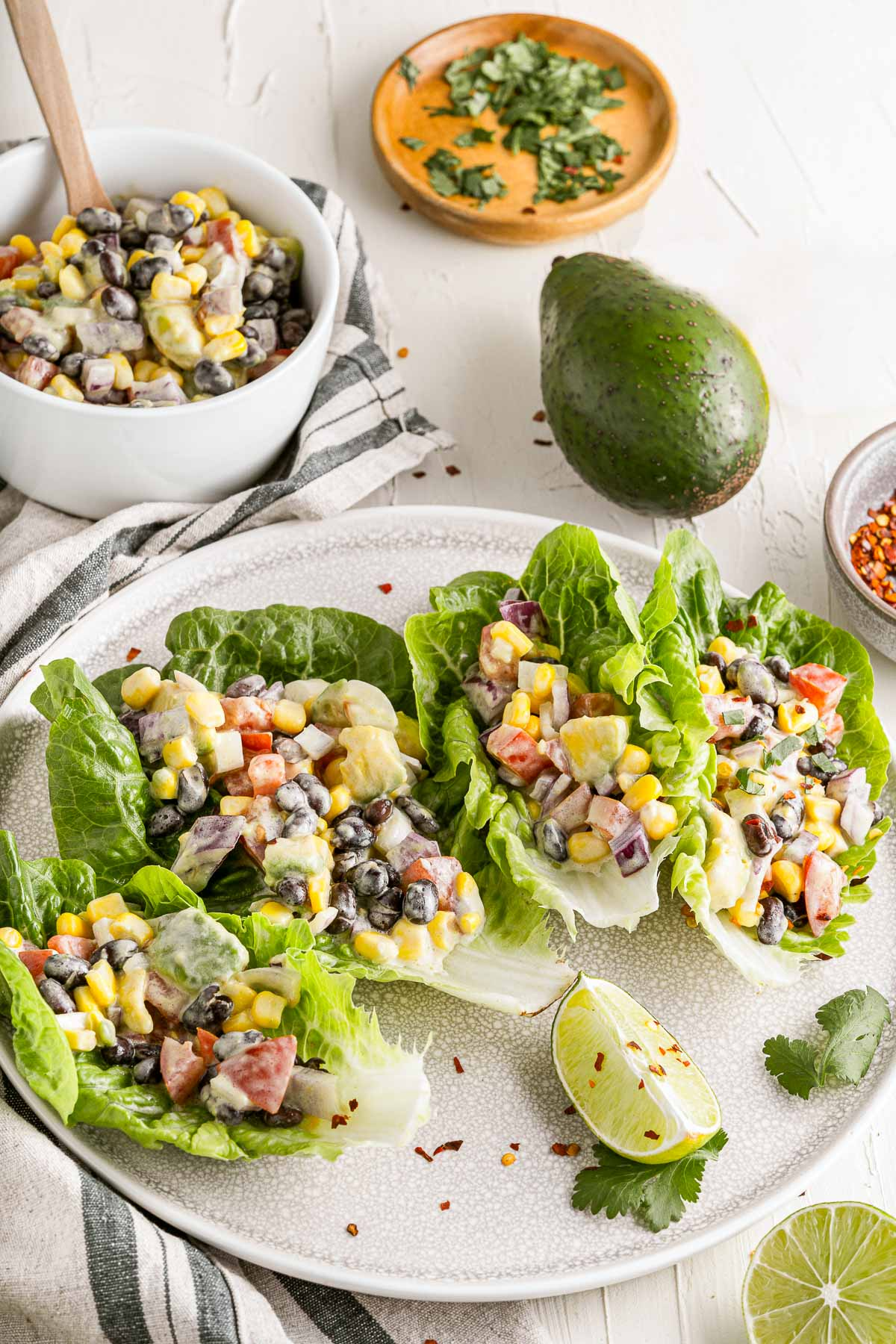 Mexican lettuce wraps overhead SIDE
