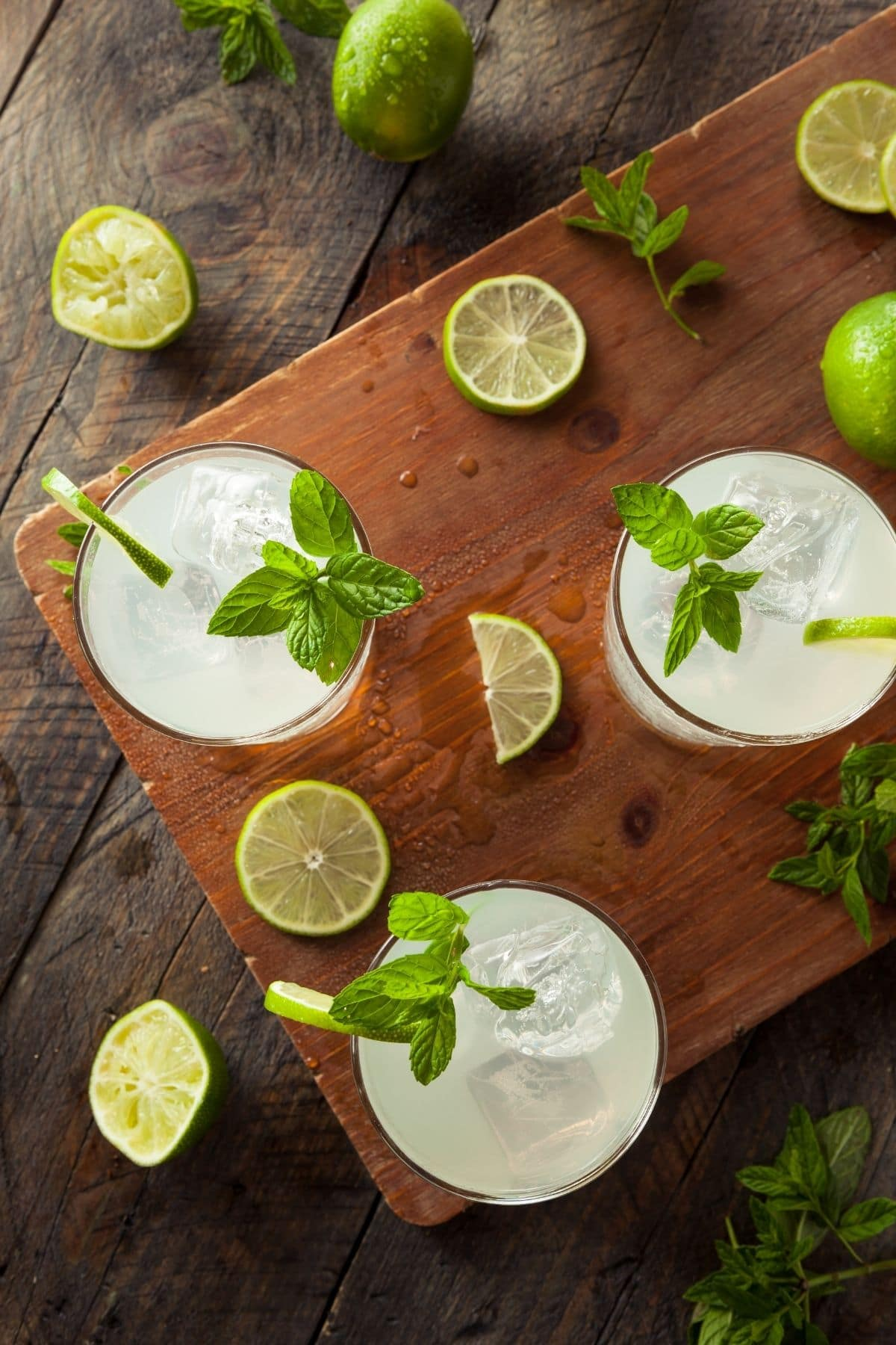 GLASSES OF LIMEADE FROM OVERHEAD