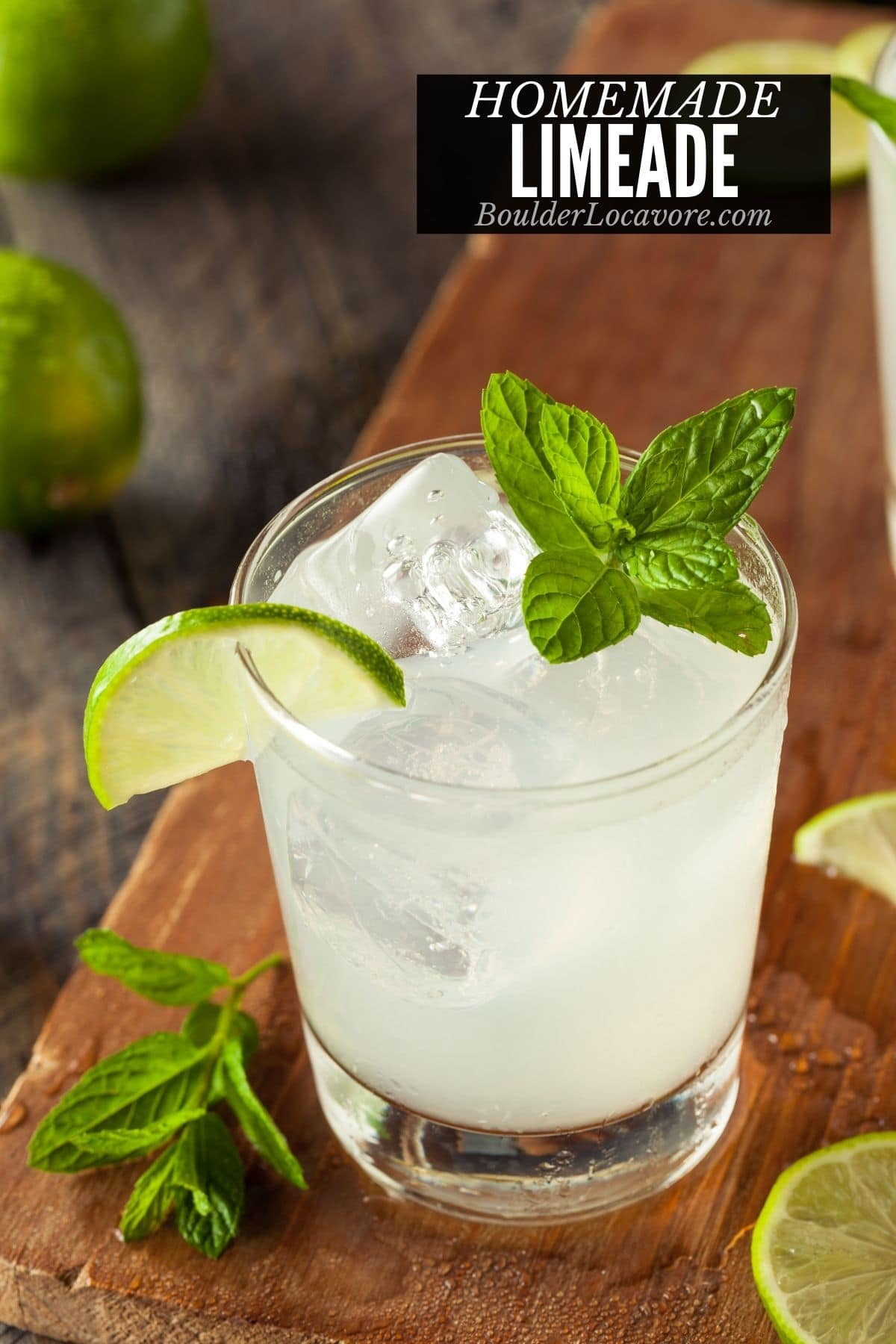 LIMEADE IN A GLASS WITH ICE