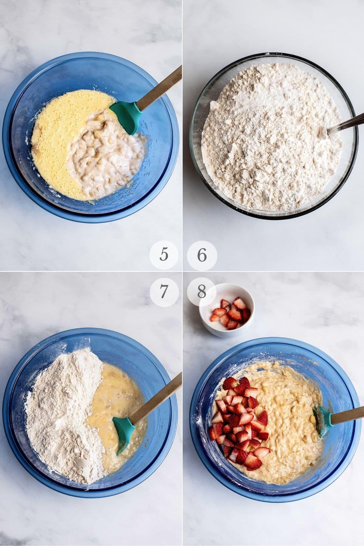 strawberry banana bread recipe steps 5-8