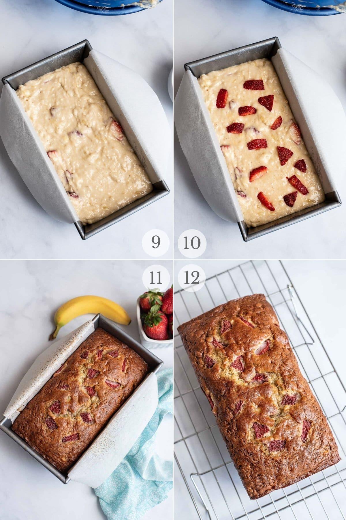 strawberry banana bread recipe steps 9-12