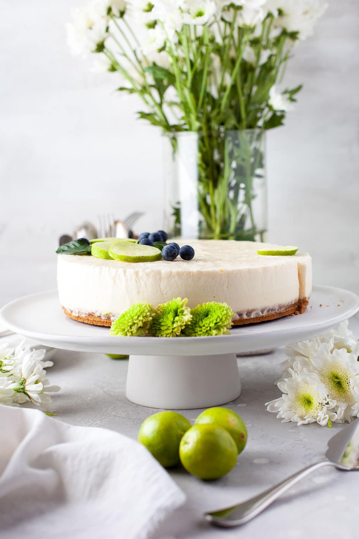 frozen key lime pie slice from side on plate