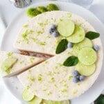 frozen key lime pie from overhead title