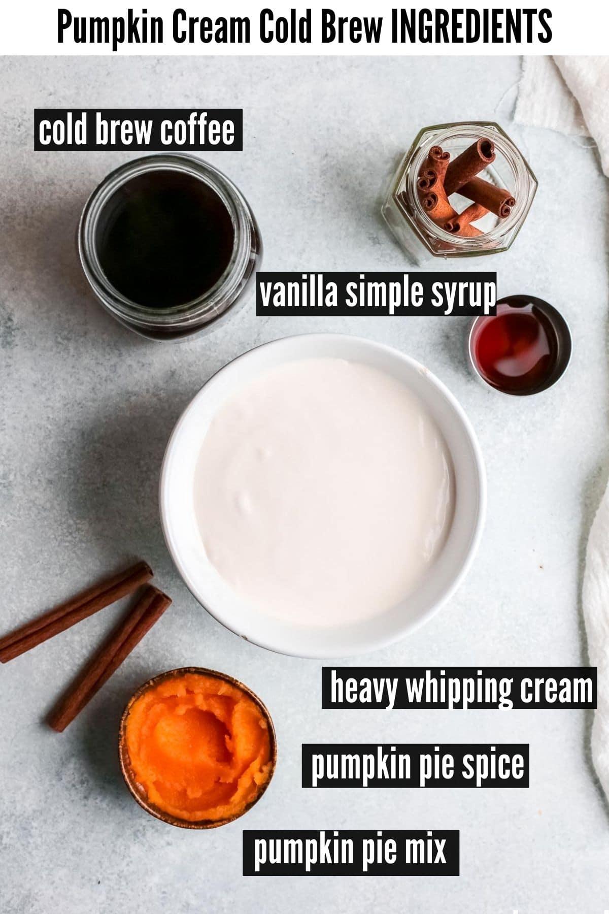 pumpkin cream cold brew ingredients labelled