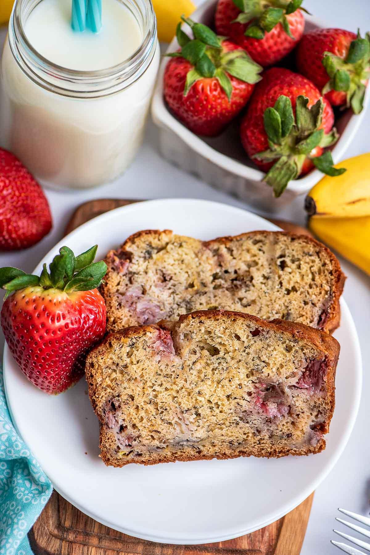 strawberry banana bread sliced on plate
