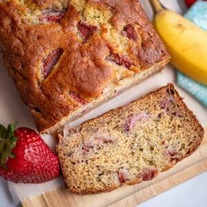 strawberry banana bread square