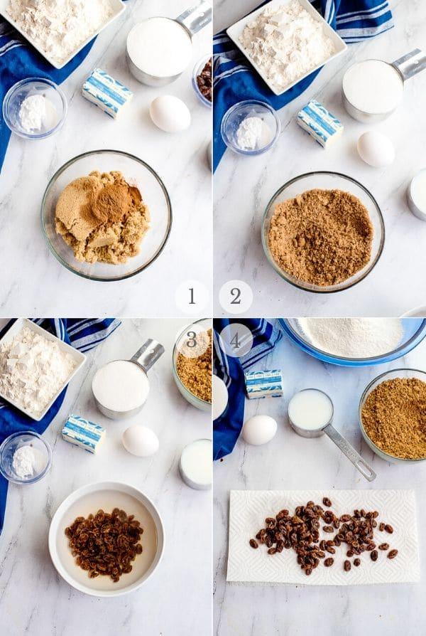 Cinnamon Raisin Bread recipe steps photos steps 1-4