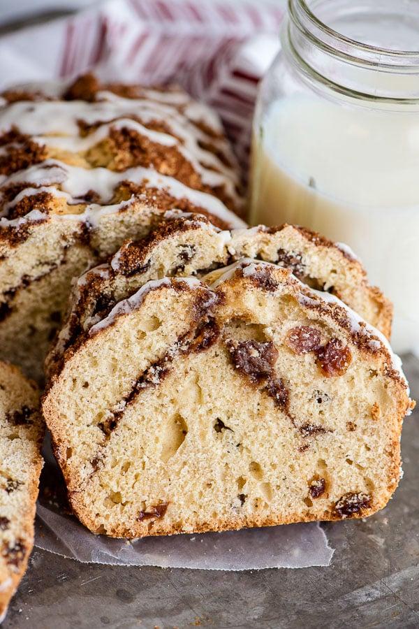 homemade bread slice with cinnamon and raisins