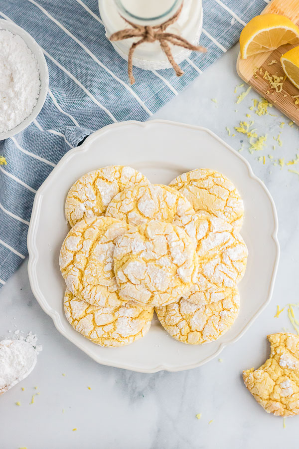 plate of lemon cake mix cookies