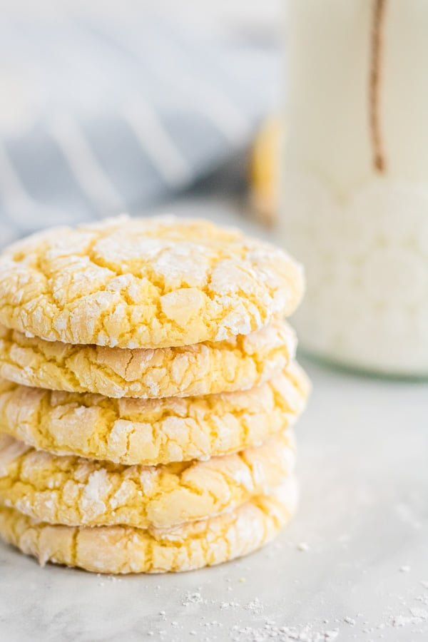 stack of lemon cookies made with cake mix