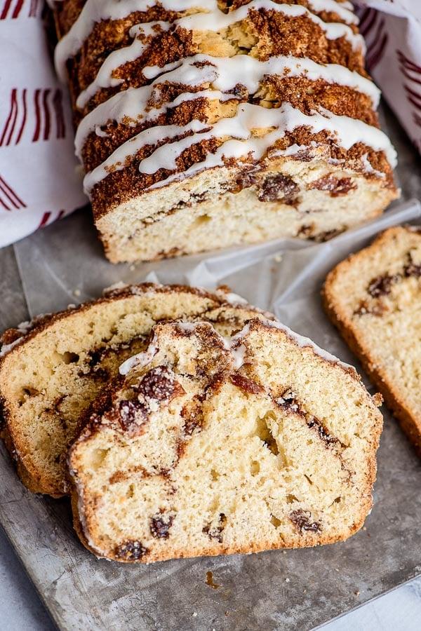 slice of cinnamon raisin bread with glaze