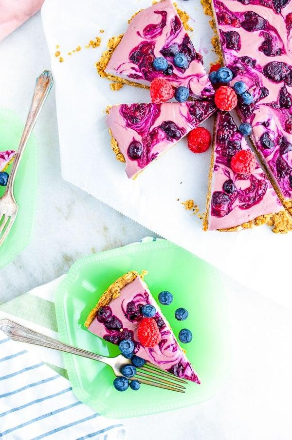 breakfast berry pie slices on jadelite plates