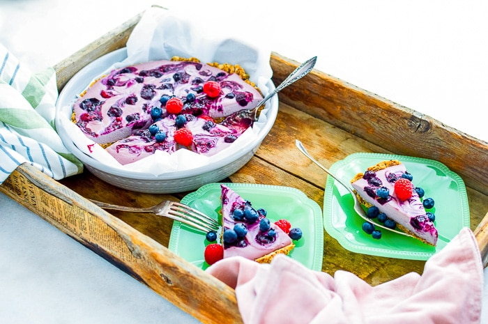 breakfast berry pie slices on green vintage plates and tray