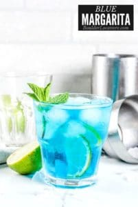 Blue Margarita in glass with ice with title